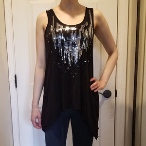 Silver Sequined Black Party Tank Top